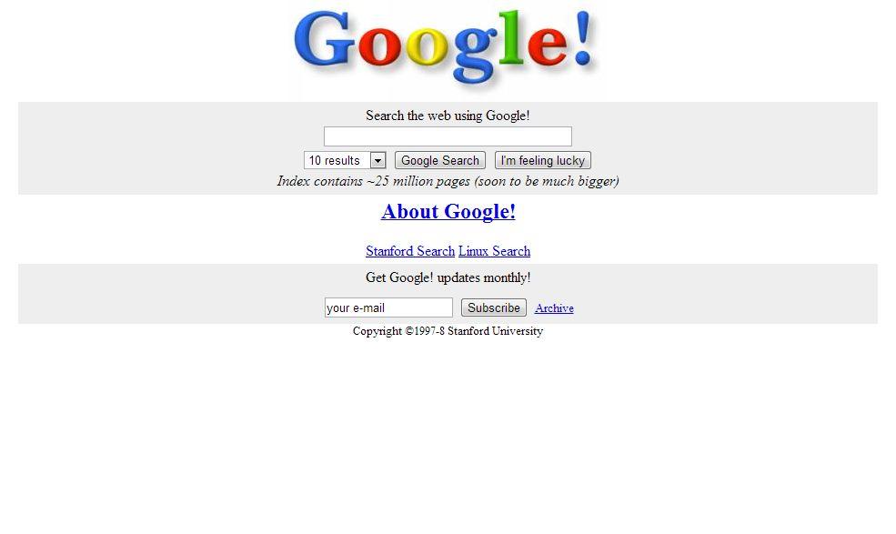 Google w 1998 roku