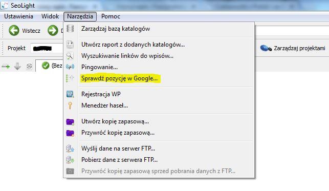 Sprawdź pozycję w Google - dodatek do SeoLight