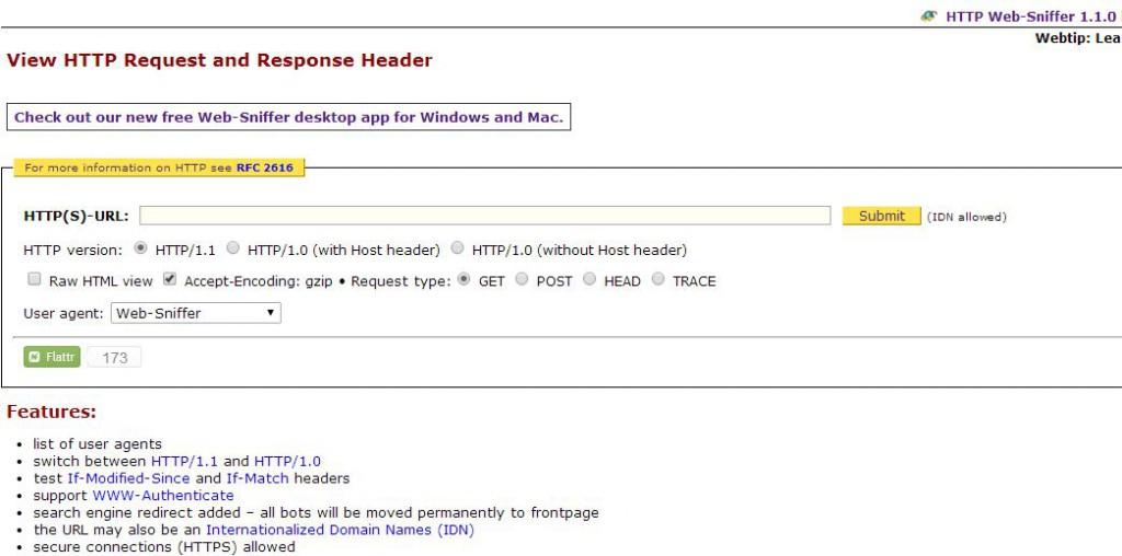 """Web-Sniffer - tryb """"przeglądarkowy"""""""