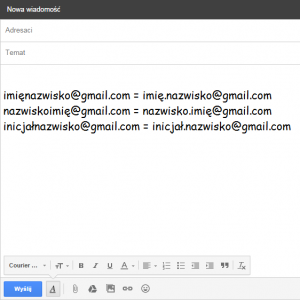 adresy mailowe w Google