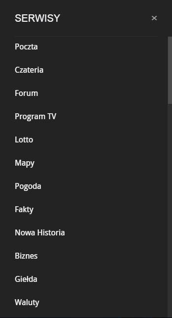 wysuwane menu boczne Interia.pl