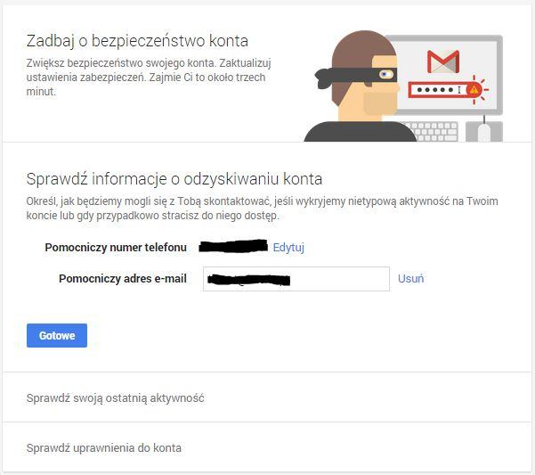 zabezpieczenie konta google