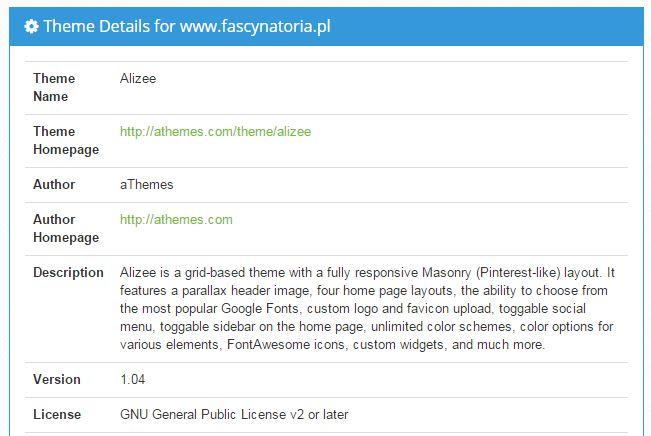 parametry szablonu w WordPress Theme Search