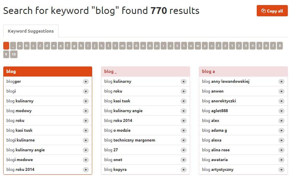 Keywordtool dla frazy blog