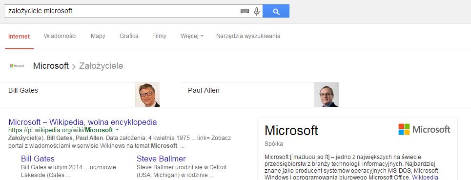 wyniki wyszukiwania założyciele microsoft